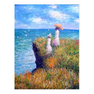 Claude Monet: Paseo del acantilado en Pourville Tarjeta Postal