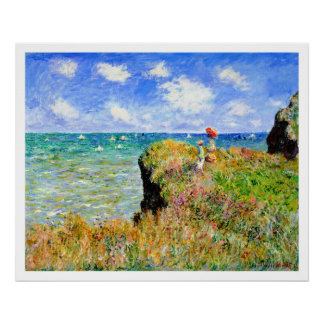 Claude Monet - paseo del top del acantilado en Pou Poster