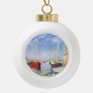 Claude Monet: Pleasure Boats at Argenteuil Ceramic Ball Christmas Ornament