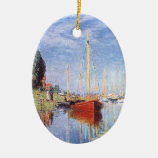 Claude Monet: Pleasure Boats at Argenteuil Double-Sided Oval Ceramic Christmas Ornament