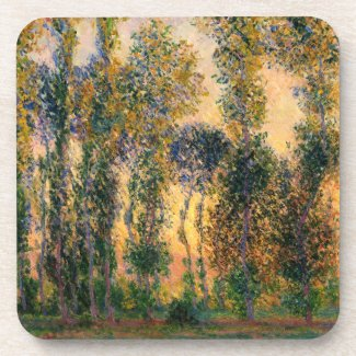 Claude Monet: Poplars at Giverny in Sunrise Beverage Coaster