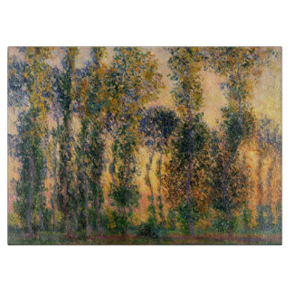 Claude Monet: Poplars at Giverny in Sunrise Cutting Board