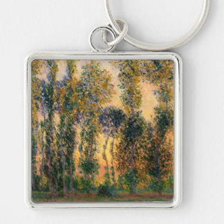 Claude Monet: Poplars at Giverny in Sunrise Key Chains