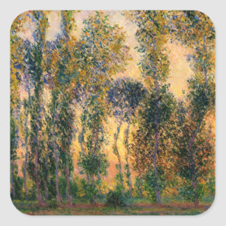Claude Monet: Poplars at Giverny in Sunrise Square Sticker