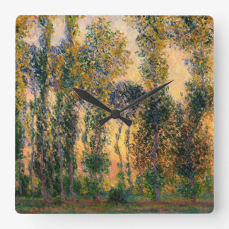 Claude Monet: Poplars at Giverny in Sunrise Square Wall Clock