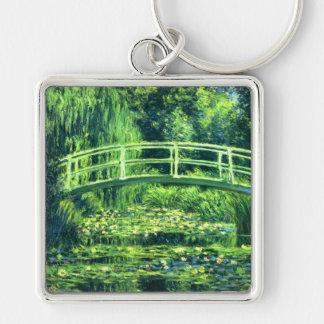 Claude Monet: Puente sobre una charca de los Llavero Cuadrado Plateado