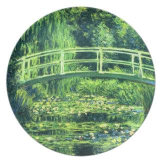 Claude Monet: Puente sobre una charca de los Plato De Comida