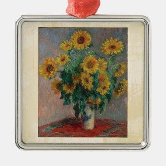 Claude Monet: Ramo de arte del vintage del girasol Adorno De Reyes