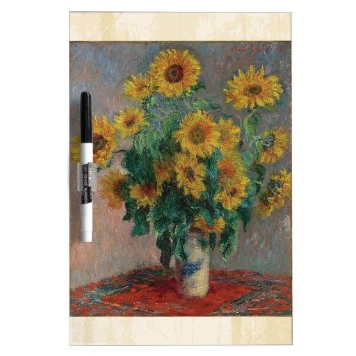 Claude Monet: Ramo de arte del vintage del girasol Tableros Blancos