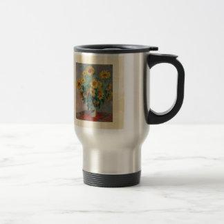 Claude Monet: Ramo de arte del vintage del girasol Taza De Viaje