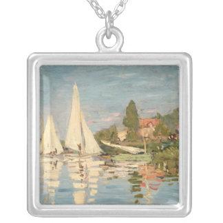 Claude Monet | Regatta at Argenteuil, c.1872 Silver Plated Necklace