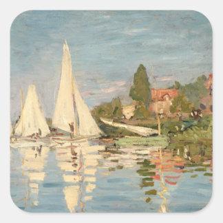 Claude Monet | Regatta at Argenteuil, c.1872 Square Sticker