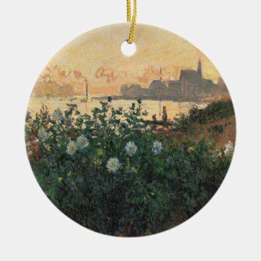 Claude Monet - Riverbank florecido, Argenteuil Ornaments Para Arbol De Navidad