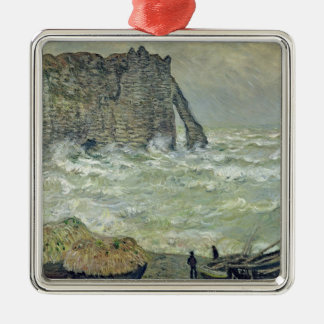 Claude Monet | Rough Sea at Etretat, 1883 Metal Ornament