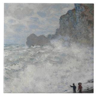 Claude Monet - Rough Weather at Étretat Tile