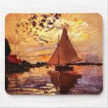 Claude Monet-Sailboat at Le Petit-Gennevilliers Mouse Pad