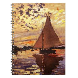 Claude Monet-Sailboat at Le Petit-Gennevilliers Spiral Notebook
