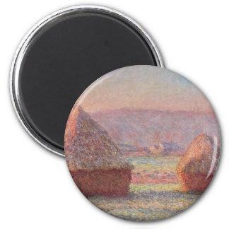 Claude Monet - salida del sol blanca de Frost Imán Redondo 5 Cm