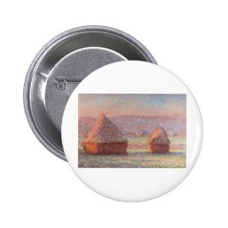 Claude Monet - salida del sol blanca de Frost Pin Redondo De 2 Pulgadas