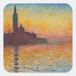 Claude Monet - San Giorgio Maggiore at Dusk Square Sticker