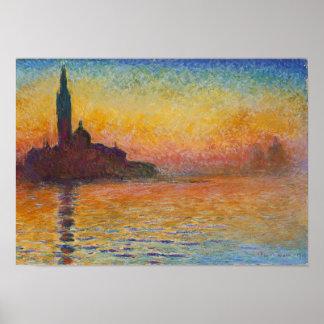 Claude Monet - San Jorge Maggiore en la oscuridad Póster