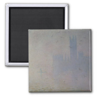 Claude Monet | Seagulls over Houses of Parliament 2 Inch Square Magnet