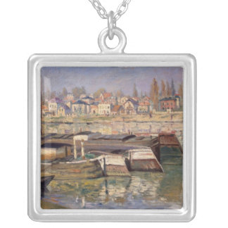 Claude Monet | Seine at Asnieres, 1873 Silver Plated Necklace