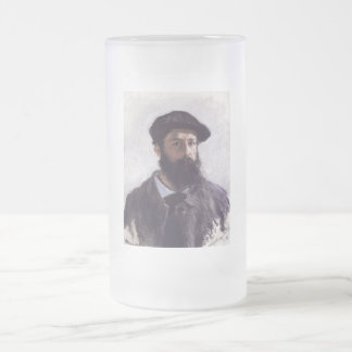 Claude Monet - Self-portrait in Beret Frosted Glass Beer Mug