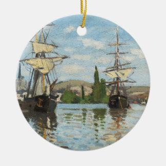 Claude Monet | Ships Riding on the Seine at Rouen Ceramic Ornament