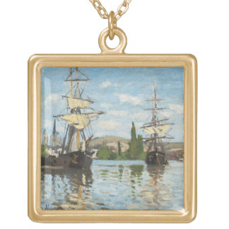 Claude Monet | Ships Riding on the Seine at Rouen Gold Plated Necklace
