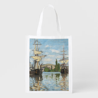 Claude Monet | Ships Riding on the Seine at Rouen Grocery Bag