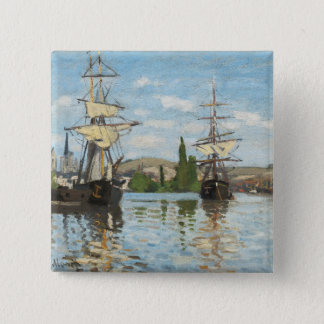 Claude Monet | Ships Riding on the Seine at Rouen Pinback Button