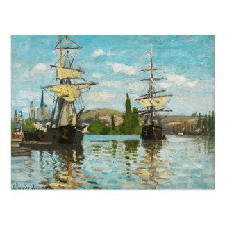 Claude Monet Ships Riding On The Seine At Rouen Postcard
