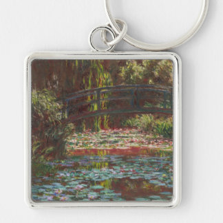 Claude Monet Silver-Colored Square Keychain