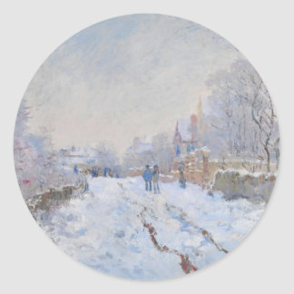 Claude Monet // Snow at Argenteuil Classic Round Sticker