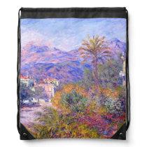 Claude Monet: Strada Romada in Bordighera Drawstring Bag