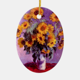 Claude Monet: Sunflowers Double-Sided Oval Ceramic Christmas Ornament