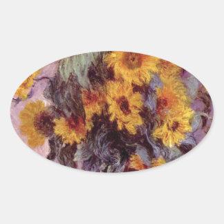 Claude Monet Sunflowers Oval Sticker