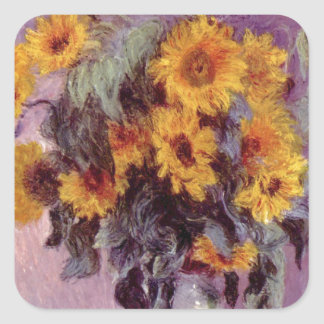 Claude Monet // Sunflowers Square Sticker