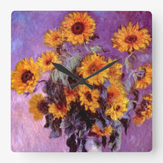 Claude Monet: Sunflowers Square Wall Clock