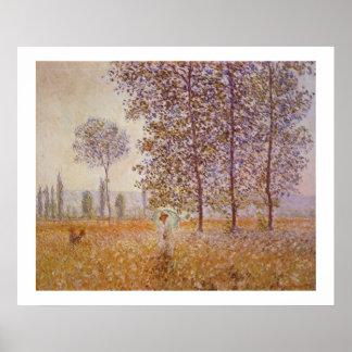 Claude Monet  - Sunlight Effect under the Poplars Poster