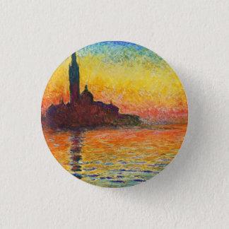 Claude Monet Sunset In Venice Impressionist Art Button