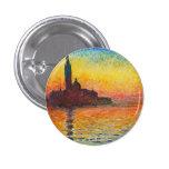 Claude Monet Sunset In Venice Impressionist Art 1 Inch Round Button