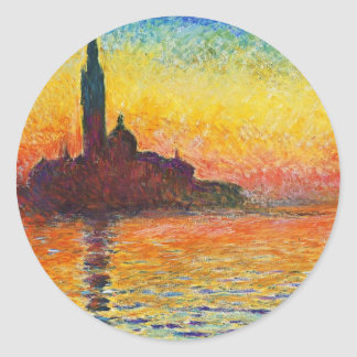 Claude Monet Sunset In Venice Impressionist Art Classic Round Sticker
