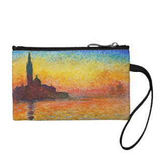 Claude Monet Sunset In Venice Impressionist Art Coin Purse