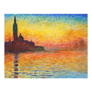 Claude Monet Sunset In Venice Impressionist Art Flyer