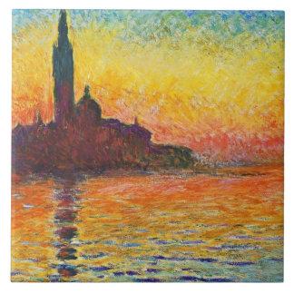Claude Monet Sunset In Venice Impressionist Art Large Square Tile