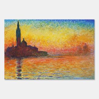 Claude Monet Sunset In Venice Impressionist Art Lawn Sign