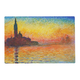 Claude Monet Sunset In Venice Impressionist Art Placemat