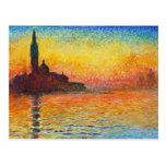 Claude Monet Sunset In Venice Impressionist Art Postcard